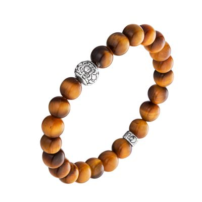 Lunavit Aton magnetic bead bracelet with shimmering tiger's eye gemstones